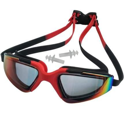 C33452-5 Очки для плавания взрослые с берушами (красно-черные)