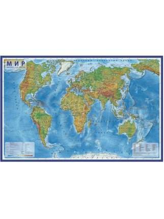 Globen Интерактивная карта Мир Физический 1:25М (с ламинацией в тубусе), КН049