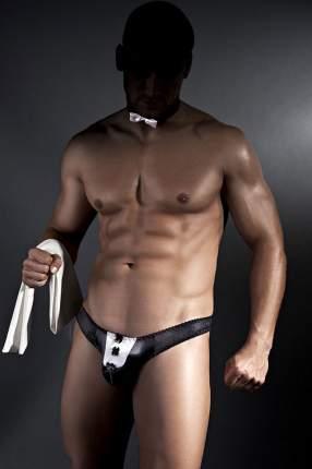 Трусики-стринги официанта Justin в комплекте с бабочкой на шею, черный с белым, XXL, Anais