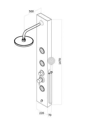 Душевая панель со смесителем для ванны AVA AV9339AGB