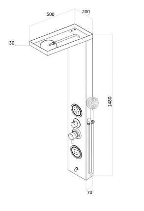 Душевая панель со смесителем для ванны AVA AV9129AB
