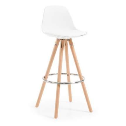 Полубарный стул La Forma Stag 36133, бук натуральный/хром/белый