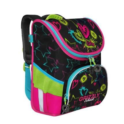 Школьный ранец Grizzly для девочки, черный/жимолость