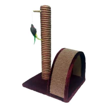 Когтеточка PerseiLine Столбик+дуга, джут/ковролин/игрушка, в ассортименте, 35х30х54см