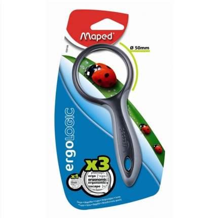 Лупа MAPED ERGOLOGIC 3х- кратная эргономичная обрезиненная ручка 50 мм 1