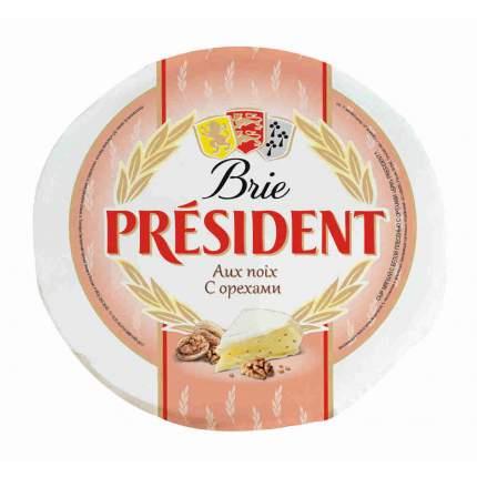 Сыр президент бри мягкий фасованный с белой плесенью с орехами 60%