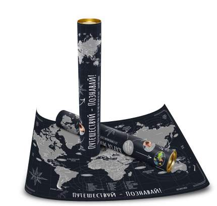 """Карта мира со стираемым слоем """"Путешествуй-Познавай"""" (650*450мм) в тубусе"""