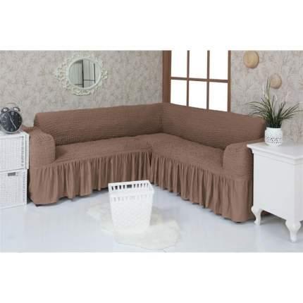 Чехол на угловой диван с оборкой Venera, коричневый