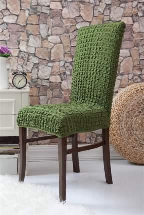 Чехлы на стулья без оборки Venera, зеленый, комплект 6 штук