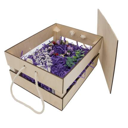 Набор для оформления подарка Фиолет, ящик 25*30 см, белый 560268