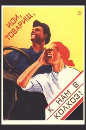 "Плакат СТ-Диалог ""Иди, товарищ, к нам вколхоз!"", СОВ-176, лам.бумага, 40х60 см"