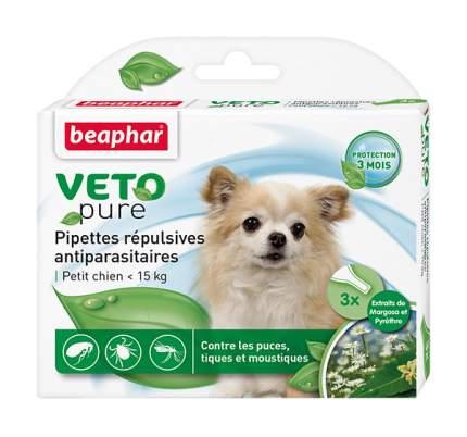 Капли для мелких собак против блох, клещей, комаров Beaphar VETO pure, 3 пипетки, 1 мл