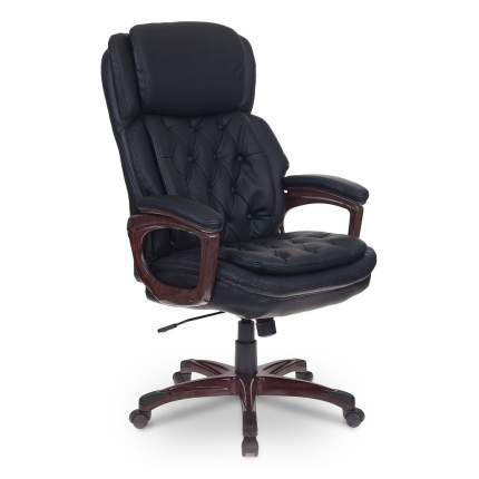 Кресло руководителя Бюрократ T-9918/BLACK, черный/светлый махагон
