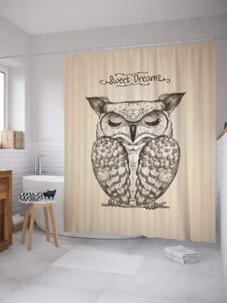 Штора для ванной JoyArty «Спящая сова» из ткани, 180х200 см с крючками
