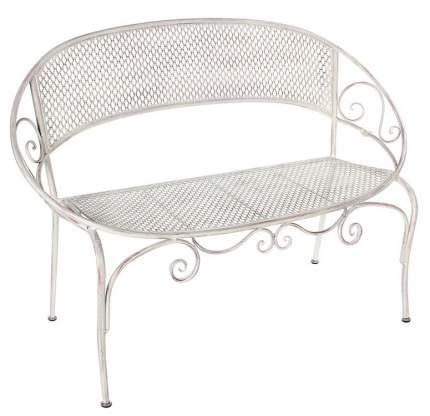Садовая скамейка АЖУРНЫЙ ПРОВАНС овальная, металл, белая, 124х61,5х87,5см (Edelman)