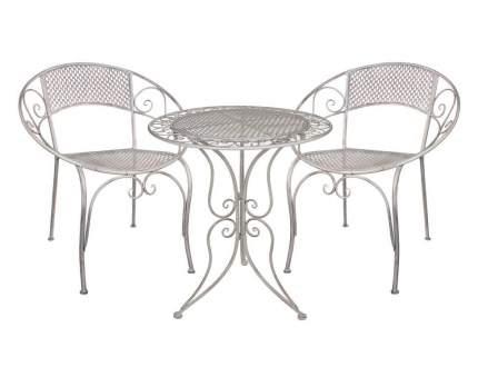 Комплект дачной мебели АЖУРНЫЙ ПРОВАНС (2 кресла, стол), металл, серый (Edelman)