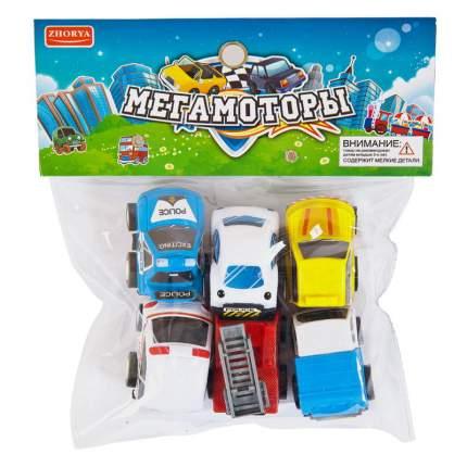 Набор инерционных машинок Junfa toys Мегамоторы 6 штук 121930-TN