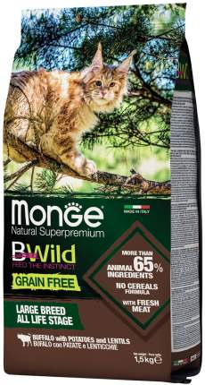 Сухой корм для крупных кошек Monge BWild Grain Free Large Breed, буйвол и картофель, 1,5кг