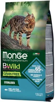 Сухой корм для кошек Monge BWild Grain Free Sterilised, тунец и горох, 1,5кг