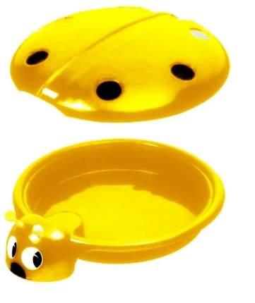Песочница-бассейн ПластиК Божья коровка с крышкой желтая, 92х80х24
