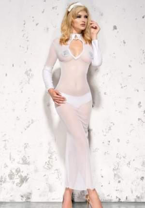 Платье полупрозрачное Sarah с воротником-стойкой белый XXL/XXXL