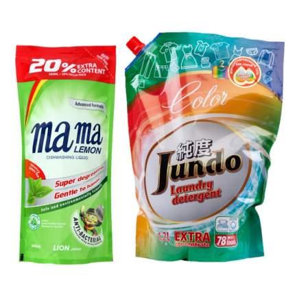 Гель д/посуды Mama Lemon зеленый чай 0,6 л и гель д/стирки Jundo Color 1.2 л