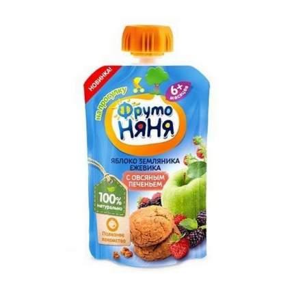 Пюре фруктовое ФрутоНяня из яблок, земляники и ежевики с овсяным печеньем, 90 г