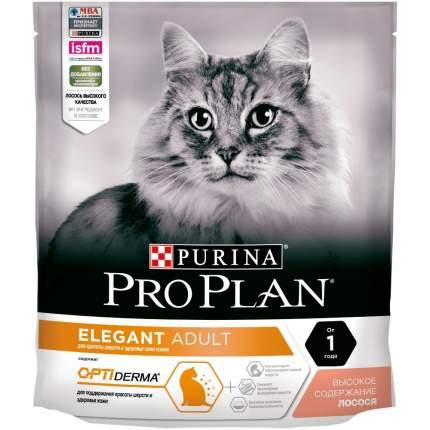Сухой корм для кошек PRO PLAN Elegant, для поддержания красоты шерсти, лосось, 0,4кг