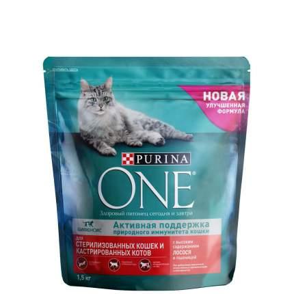 Сухой корм для кошек Purina One, для стерилизованных, лосось и пшеница, 1,5кг