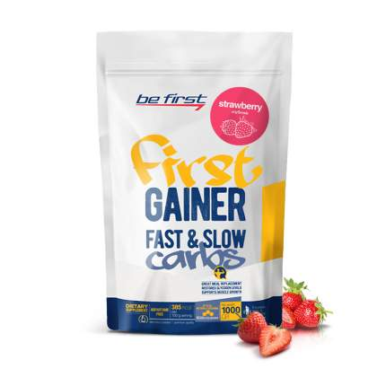 Гейнер Be First Gainer Fast & Slow Carbs, 1000 г, strawberry