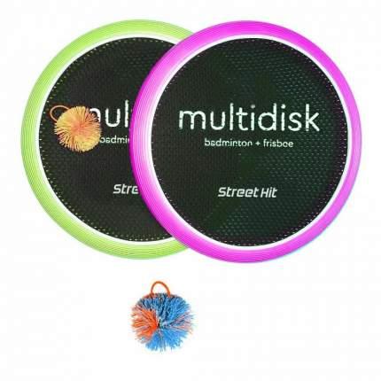 Мультидиск Fyle Street Hit Maxi бадминтон и фрисби, зеленый и фиолетовый, 40 см