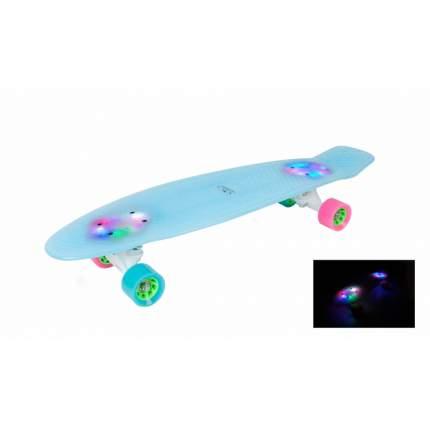 Скейтборд HUDORA Retro, голубой с подсветкой