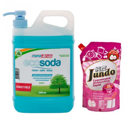 Набор бальзам для мытья посуды EcoSoda 2 л и эко гель для мытья посуды Jundo Sakura 800 мл