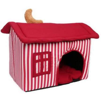 Домик для кошек и собак Lion Домик, красный, белый, 45x32x39см