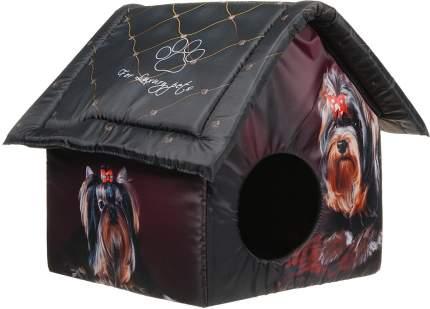 Домик для собак PerseiLine Дизайн Йорк, черный, коричневый, красный, 40x33x33см