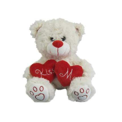 Мягкая игрушка Abtoys Медведь белый с сердцем Kiss me , 18см