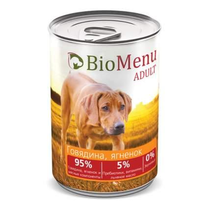 Консервы для собак BioMenu Adult, говядина, ягненок, 410г
