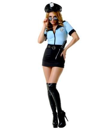 Костюм женщины-копа S/M голубой, черный