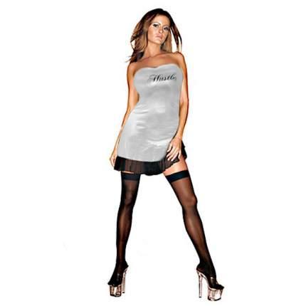 Клубное платье с надписью HUSTLER на груди M/L серебристый, черный