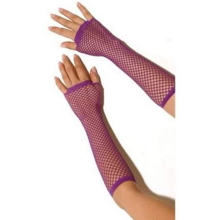 Длинные перчатки в сетку onesize фиолетовый
