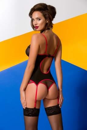 Двухцветный корсаж Valentine с полупрозрачными вставками черный, красный S/M