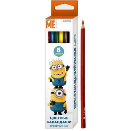 Цветные карандаши Росмэн трехгранные 6 цветов Миньоны тм Despicable Me