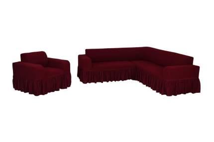 """Комплект чехлов на угловой диван и кресло с оборкой Venera """"Жаккард"""", цвет: бордовый"""