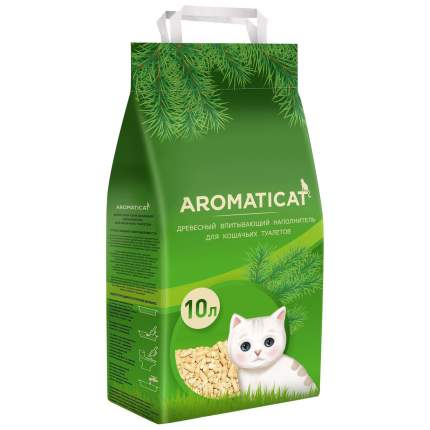 Древесный наполнитель туалета для животных AromatiCat Древесный, 10 л, 6 кг