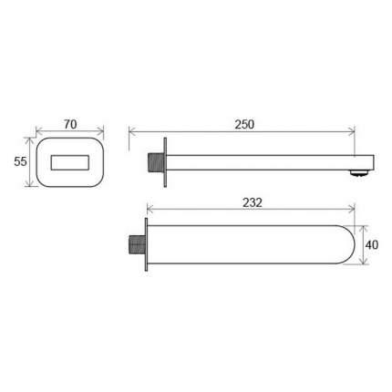 Вывод воды (излив) для умывальника/ванны длина 230 мм CR 027,00