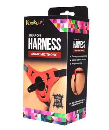 Красно-черные трусики с плугом Kanikule Strap-on Harness Anatomic Thong