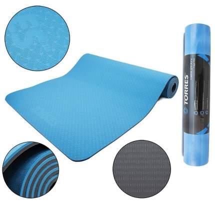 Коврик для йоги и фитнеса Torres Comfort 6 TPE голубой/серый 6 мм