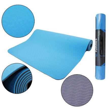 Коврик для йоги и фитнеса Torres Comfort 4 TPE голубой 4 мм