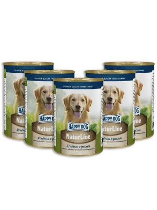 Консервы для собак Happy Dog NaturLine, ягненок с рисом, 5 шт по 400г