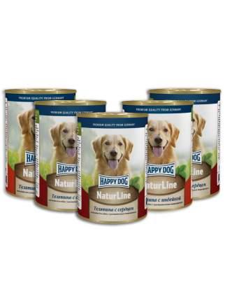 Консервы для собак Happy Dog NaturLine, телятина с сердцем, 5 шт по 400г